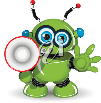Illustration of a green robot with speaker