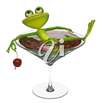 3D Illustration of a Frog in a Wine Glass on a White Background