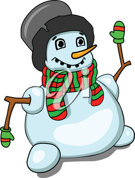Stock Illustration Snowman in black hat on a White Background