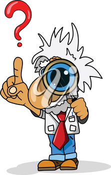 Stock Illustration Professor with Magnifier on a White Background
