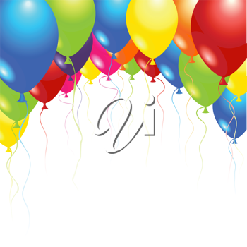 Royalty Free Clipart Image of Floating Balloons