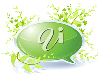 Royalty Free Clipart Image of a Floral Theme Speech Bubble