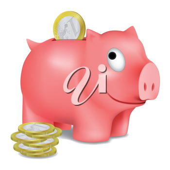 Royalty Free Clipart Image of a Piggy Bank and Euro Coins