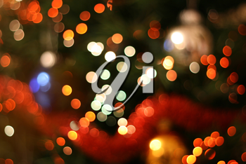 Abstract christmas background, light blur creating very nice bokeh, red white and orange