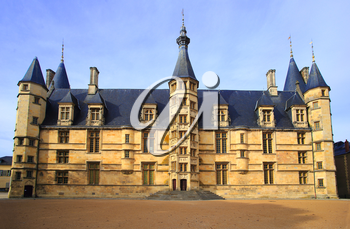 The Ducal palace in Nevers, Nievre, France. Built in the 15th and 16th centuries, feudal edifice in central France.