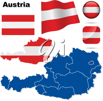 Royalty Free Clipart Image of the Map and Flag of Austria