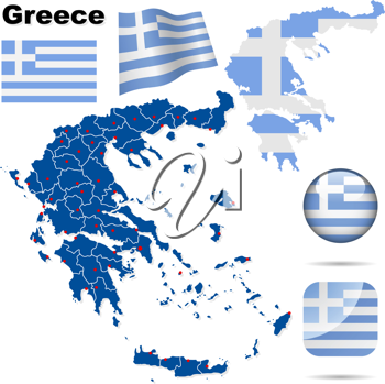 Royalty Free Clipart Image of Flags and a Map of Greece