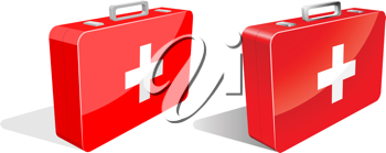 Royalty Free Clipart Image of First Aid Kits