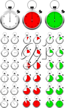 Royalty Free Clipart Image of a Set of Stopwatches
