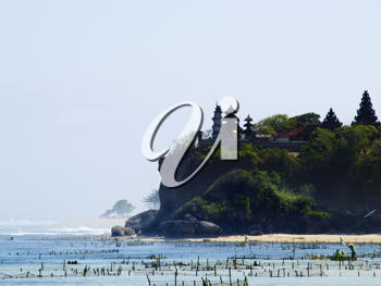 Traditional balinese temple on the rock at Nusa Dua, Bali, Indonesia