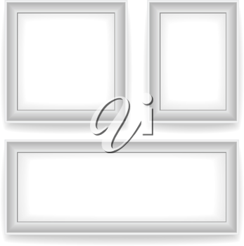 Blank white wall picture frames isolated on white background. 3 variants: square, vertical, horizontal.