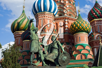 Royalty Free Photo of St Basil Cathedral and Pozharsky And Minin Monument in Moscow Red Square