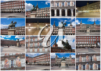 Beautiful view of famous Plaza Mayor in Madrid, Spain