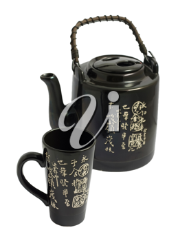 Royalty Free Photo of a Chinese Teapot and a Decorative Cup