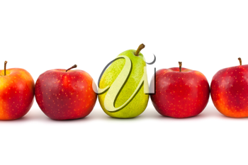 Royalty Free Photo of a Line-Up of Apples and a Pear