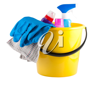 Royalty Free Photo of a Plastic Bucket with Cleaning Supplies