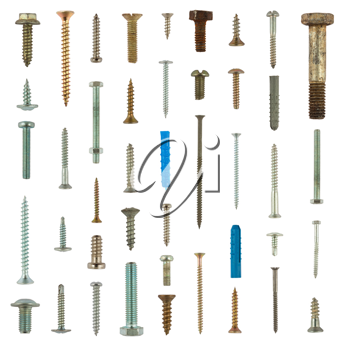 Royalty Free Photo of a Collection of Bolts and Screws