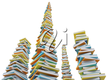 Royalty Free Clipart Image of Stacks of Books
