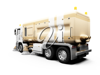 Royalty Free Clipart Image of a Sweeper Truck