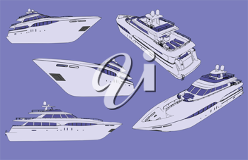Royalty Free Clipart Image of Yachts