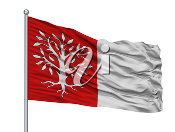 Herentals City Flag On Flagpole, Country Belgium, Isolated On White Background, 3D Rendering