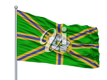 Abbotsford City Flag On Flagpole, Country Canada, Isolated On White Background, 3D Rendering