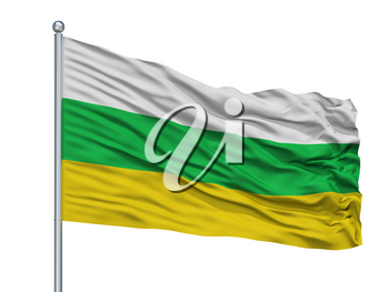 Los Patios City Flag On Flagpole, Country Colombia, Isolated On White Background, 3D Rendering