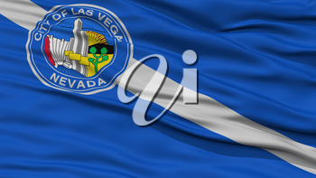 Closeup of Las Vegas City Flag, Waving in the Wind, Nevada State, United States of America