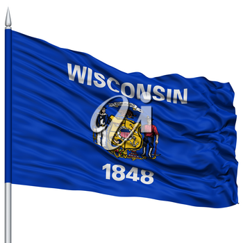 Isolated Wisconsin Flag on Flagpole, USA state, Flying in the Wind, Isolated on White Background