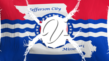 Jefferson city, capital of Missouri state flag with a hole, white background, 3d rendering