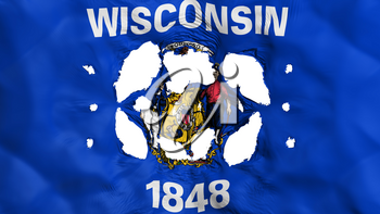 Holes in Wisconsin state flag, white background, 3d rendering