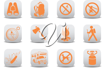 Royalty Free Clipart Image of a Camping Icons