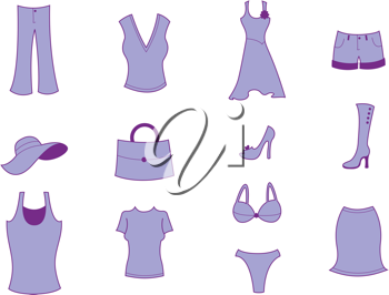 Royalty Free Clipart Image of Women's Clothes