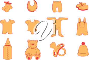 Royalty Free Clipart Image of Baby Items