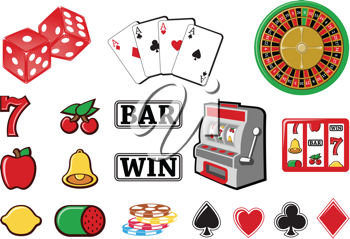 Royalty Free Clipart Image of Casino and Gambling Icons