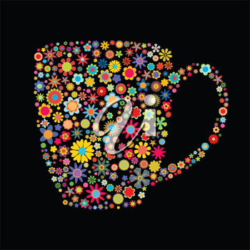 Royalty Free Clipart Image of a Floral Mug