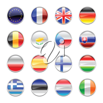 Royalty Free Clipart Image of Flags of European Countries