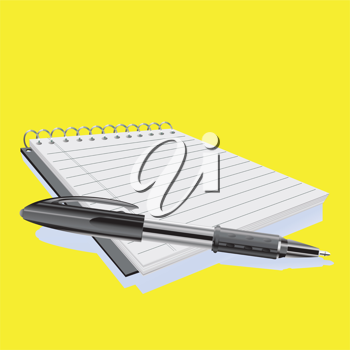 Royalty Free Clipart Image of a Pen on a Notepad