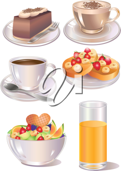 Royalty Free Clipart Image of Desserts and Drinks