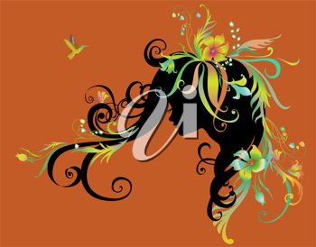 Royalty Free Clipart Image of a Woman With Flowers in Her Hair