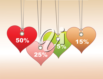 Royalty Free Clipart Image of Heart Shaped Pricetags
