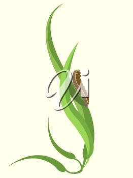Royalty Free Clipart Image of a Caterpillar on a Plant
