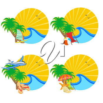 Royalty Free Clipart Image of Beach Signs