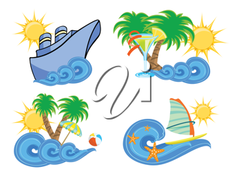 Royalty Free Clipart Image of a Summer Beach Set