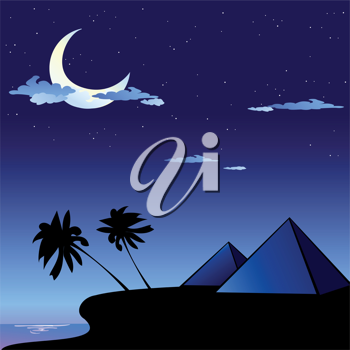 Royalty Free Clipart Image of the Pyramids
