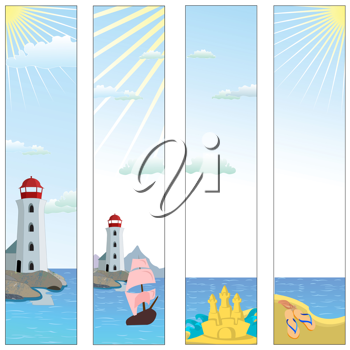 Royalty Free Clipart Image of Banners With a Lighthouse and Beach