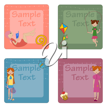 Royalty Free Clipart Image of a Set of Greeting Cards
