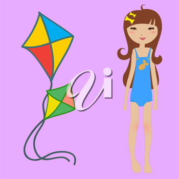 Royalty Free Clipart Image of a Girl With a Kite