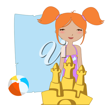 Royalty Free Clipart Image of a Girl With a Sandcastle