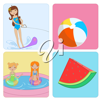 Royalty Free Clipart Image of Girls at the Beach